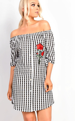 Gina Gingham Embroidered Bardot Knot Sleeve Dress