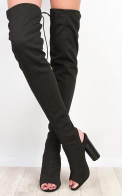 Kim Peep Toe Knee High Boots