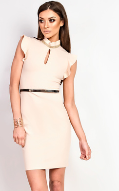 Annetta Frill Diamante Neckline Dress