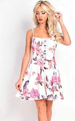 Elle Strappy Lace Up Floral Skater Dress