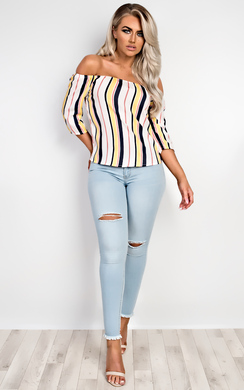 Francesca Striped Off Shoulder Top