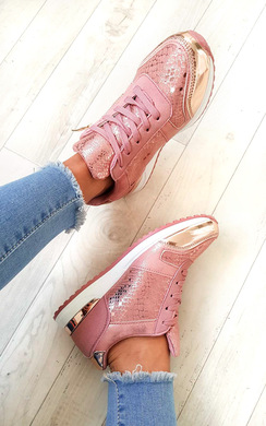Karrie Shimmer Lace Up Trainers