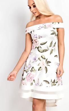 Leah Off Shoulder Floral Skater Dress