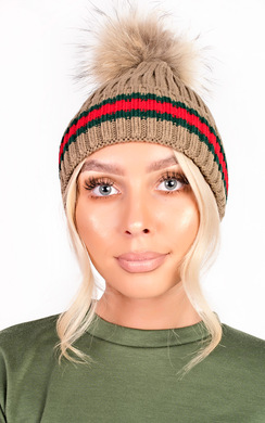 Emile Faux Fur Stripe Pom pom Hat