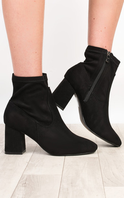 Alissa Faux Suede Heeled Ankle Boots