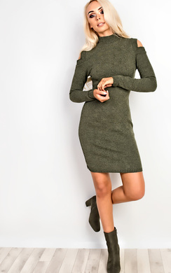 Preslie Cold Shoulder Knitted Bodycon Dress