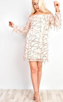 Venus Embellished Off Shoulder Bodycon Dress