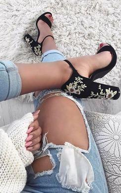 Soreya Velour Embroidered Platform Heels