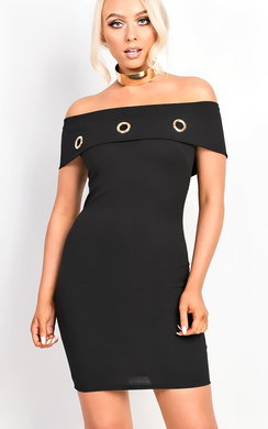 Balir Black Bardot Midi Dress