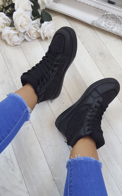Mona Diamante Lace Up Trainers