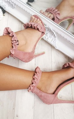 Loratina Faux Suede Frill Barely There Heels