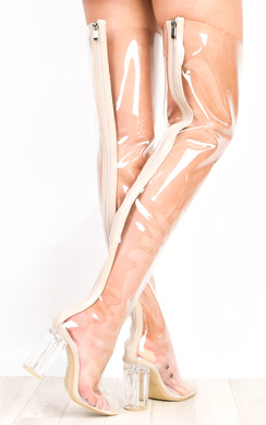 Toriana Clear Perspex Knee High Boots