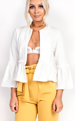Phoebe Collarless Frill Bell Sleeve Blazer Jacket