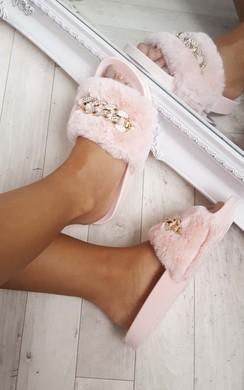 Loula Faux Fur Chain Sliders