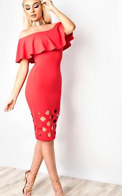 Samanthia Lasercut Off Shoulder Bodycon Dress