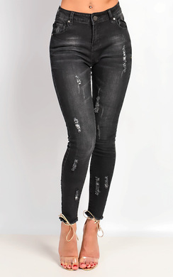 Cerise Mid Rise Washed Out Black Skinny Ripped Jeans