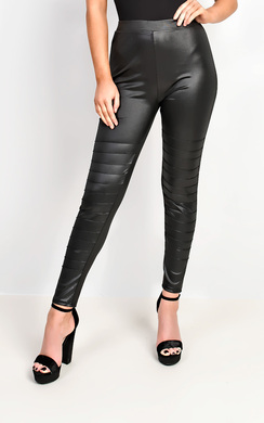 Yazmin Leather Look Panel Leggings