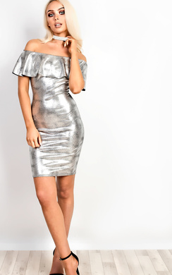 Lacey Metallic Off Shoulder Bodycon Dress