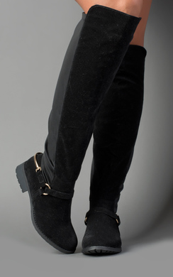 In Faux Suede Knee High Boots