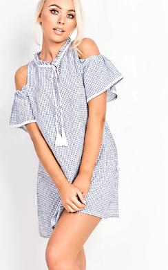 Lidia Babydoll Checked Dress
