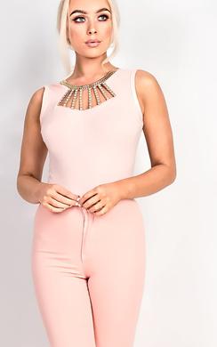 Kara Gold Embellished Bodysuit