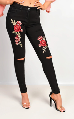 Laina Embroidered Skinny Jeans