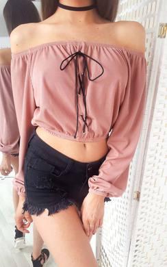 Camilla Bardot Lace Up Long Sleeve Crop Top