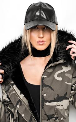 Gabrielle Leather Croc Cap