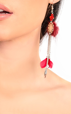 Pia Pom Pom Feather Earrings