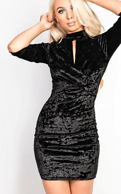 Kimbrielle Velour Cut Out Bodycon Dress