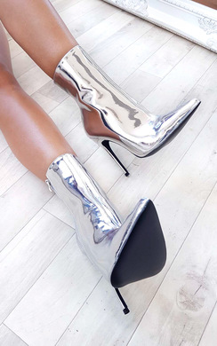 Meghan Chrome Stiletto Ankle Boots