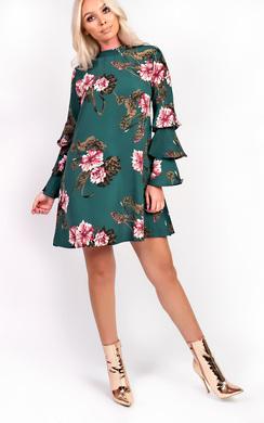 Autumn High Neck Floral Frill Dress