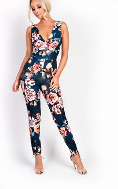 Dawci Floral Cross Over Slim Jumpsuit