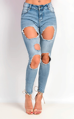 Karla Skinny Mid Rise Ripped Jeans