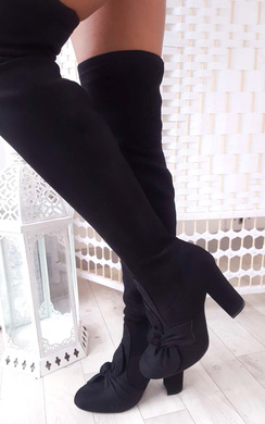 Corla Faux Suede Bow Front Knee High Boots