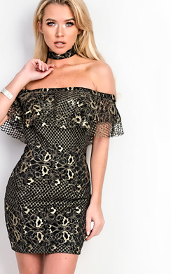 Elliana Off Shoulder Metallic Bodycon Dress