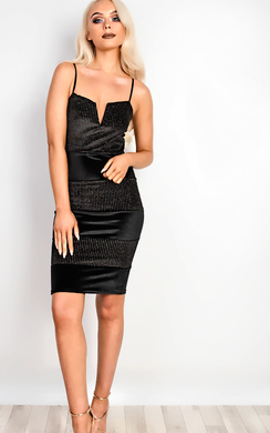 Karter Velour Panelled Bodycon Dress