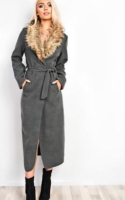 Rylie Faux Fur Midi Over Coat