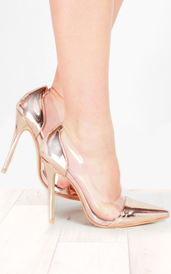 Alicia Rose Gold Metallic Clear Panel Court Heels