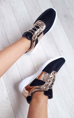 Sasha Rose Gold  Lace Up Trainers