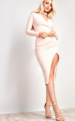 Serena Choker Gathered Bodycon Dress