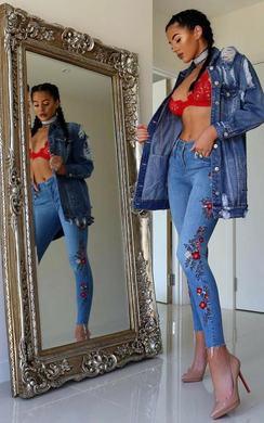 Emrata Embroidered Skinny Jeans