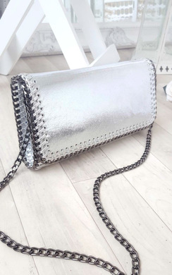 Carla Metallic Chain Detail Clutch Bag
