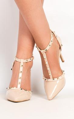 Kalah Patent T-Bar Studded Court Heels