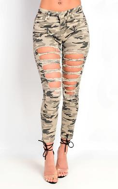 Kada Ripped Skinny Camo Jeans