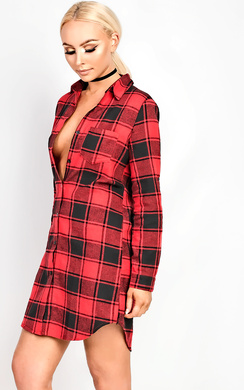 Shelby Checked Oversized Shirt Dress