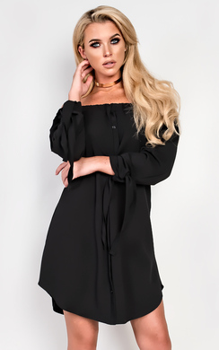 Falan Off Shoulder Shirt Dress