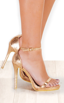 Rihana Foiled Barely There Heels