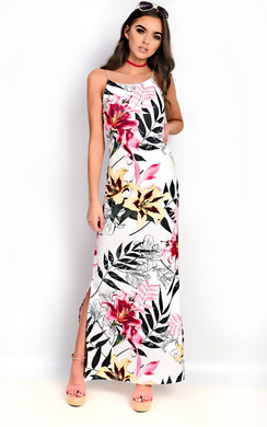 Brianna Floral Slit Side Maxi Dress