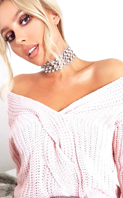 Daisy Plunge Knitted Jumper
